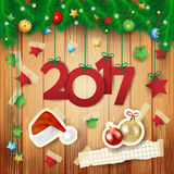 New Year background with text and paper elements Stock Images