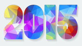 New Year background with text 2015. Which was made from colorized triangles. Vector illustration Stock Images