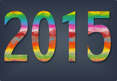 New Year background with text 2015. Which was made from colorized triangles. Vector illustration Stock Photos