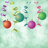 New year background. New year toys and ribbons background royalty free illustration