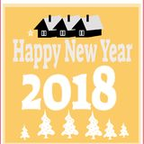 New Year background with tree toys from snowflakes. Can be used as banner or poster.Vector illustration. Stock Photography