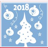 New Year background with tree toys from snowflakes. Can be used as banner or poster.Vector illustration. Stock Image