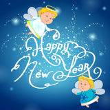 New year background with two angels Royalty Free Stock Photos