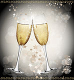 New Year background with two glasses of wine, Royalty Free Stock Photo