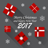 2017 New Year background. Vector christmas card with little presents and snow flakes Royalty Free Stock Photo