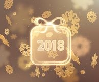 2018 New year background. Vector EPS10. 2018 New year background with text frame in shape of gift box and beautiful falling snowflakes. Vector EPS10 Stock Photo
