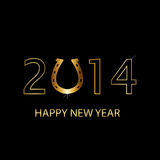 2014 new year background. Vector 2014 happy new year background with horseshoe Royalty Free Stock Photo