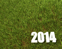 New 2014 year background. New 2014 year white 3D figres in green grass Royalty Free Stock Photo