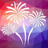 New year background. White firework on colorful mosaic triangle background Stock Photography