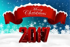 New Year 2017 background with winter nature and red ribbon Stock Images