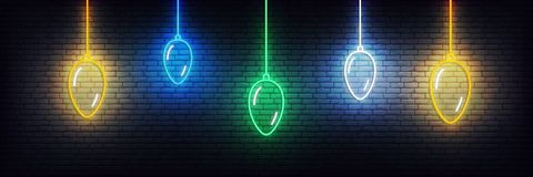 Free New Year Background With Neon Christmas Balls. Set Of Realistic Colorful Xmas Glowing Decorations Stock Image - 166833121