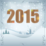 New Year Background. With Wooden 2015, Retro Frame, Tree and House. Vector Template for Cover, Flyer, Brochure Stock Photo