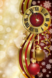 New Year background with xmas clock. Vector vector illustration