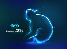 New Year 2016 background. Year of monkey, glowing. Blue dark background Stock Images