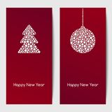 New Year backgrounds with christmas tree and hanging bauble of white dots of various size. Vector template. Royalty Free Stock Image