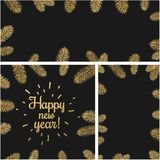 New Year backgrounds with fir branches. Black happy new year backgrounds set with fir branches. Vector Christmas illustration Royalty Free Stock Photo
