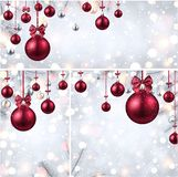 New Year backgrounds with pink Christmas balls. Magic New Year backgrounds set with fir branches and pink Christmas balls. Vector illustration.r Stock Photo