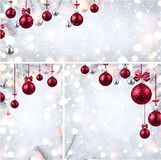 New Year backgrounds with pink Christmas balls. Shiny New Year backgrounds set with fir branches and pink Christmas balls. Vector illustration.r Stock Photos