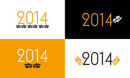 New Year 2014 backgrounds. Vintage New Year 2014 backgrounds with special black-orange-white design Royalty Free Stock Photos