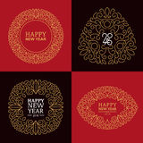 New Year badges and labels for greeting cards or gift tags. Set of vector golden, red and black New Year badges and labels for greeting cards or gift tags stock illustration
