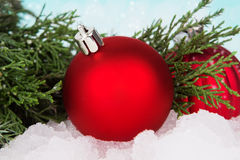 New year ball decoration with Christmas tree Stock Image