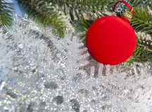 New Year ball and decorative snowflake Stock Photos