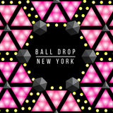 New Year Ball drop in Times square New York. Vector decorative illustration set. Stock Photo