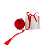 New year ball with gift box Royalty Free Stock Photo