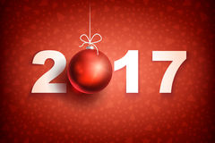 New year 2017 ball4-01. Happy New Year 2017 on red background. Christmas related ornaments objects on color background. Greeting Card Ready for your design Royalty Free Stock Image