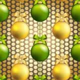 New Year ball pattern. Christmas wallpaper with bow and ribbon. Royalty Free Stock Images