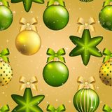 New Year ball pattern. Christmas wallpaper with bow and ribbon. Stock Image
