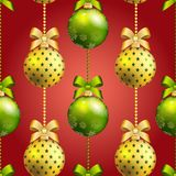 New Year ball pattern. Christmas wallpaper with bow and ribbon. Stock Photography