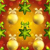 New Year ball pattern. Christmas wallpaper with bow and ribbon. Stock Photos