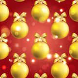New Year ball pattern. Christmas wallpaper with bow and ribbon. Royalty Free Stock Photo