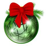 New year ball with red bow and pine branch Stock Image