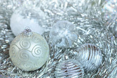 New Year ball in tinsel and spangles. Stock Photo