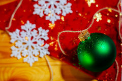 New year ball tree decoration on red background Stock Images