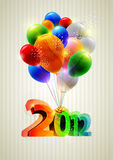 New year and balloons. New Year poster with balloons and аrabic numerals stock illustration