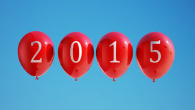 New Year 2015 Balloons with Clipping Path. Isolated on Sky Stock Image