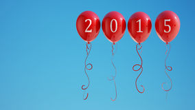 New Year 2015 Balloons with Clipping Path. On Sky Stock Image