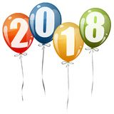New Year 2018 balloons. Colored balloons with numbers for New Year 2018 stock illustration