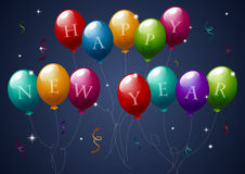 New Year Balloons. Colorful party balloons with confetti displaying the words Happy New Year vector illustration