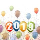 New Year 2019 balloons. Confetti and colored balloons with numbers for New Year 2019 stock illustration
