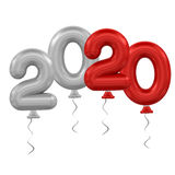 New Year balloons. 3d rendering model 2020 balloons on white background Stock Image