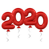 New Year balloons. 3d rendering model 2020 balloons on white background Stock Photos