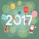 New year 2017 balloons and fireworks stock illustration