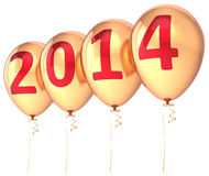New Year 2014 balloons gold party holiday Stock Photo