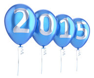 New 2015 Year balloons party decoration blue. Wintertime celebration banner balloon. Countdown future beginning calendar date greeting card design element. 3d stock illustration