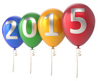 2015 New Year balloons party decoration colorful. 2015 New Year balloons party decoration. Winter celebration helium balloon. Future beginning calendar date Stock Photos