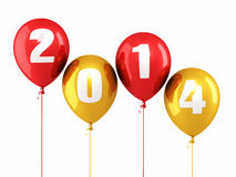 New Year 2014. And balloons render (isolated on white and clipping path Stock Photo